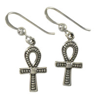 Sterling Silver Egyptian Ankh Symbol Dangle Earrings