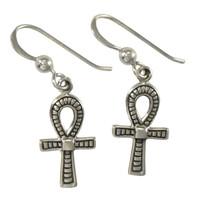 Sterling Silver Egyptian Ankh Symbol Dangle Earrings