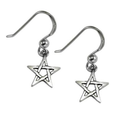 Sterling Silver Pentagram Dangle Earrings Wiccan Pagan Pentacle Jewelry