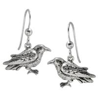 Sterling Silver Raven Dangle Earrings