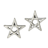 Sterling Silver Pentagram Star Post Earrings Wiccan Pagan Pentacle Jewelry