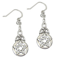 Sterling Silver Celtic Knot Pentacle Triquetra Earrings