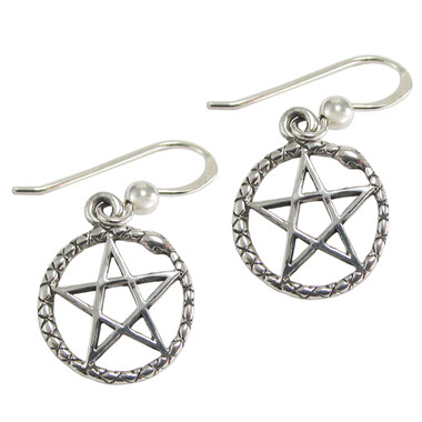 Sterling Silver Ouroboros Serpent Pentagram Earrings