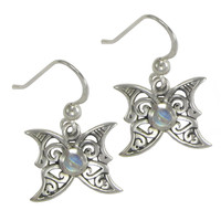 Sterling Silver Moon Phase Butterfly Earrings with Rainbow Moonstone Jewelry