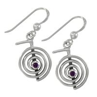 Sterling Silver Amethyst Reiki Cho Ku Rei Spiral Dangle Earrings
