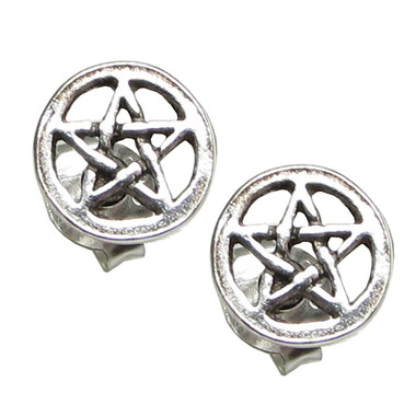 Sterling Silver Pentagram Star Stud Earrings