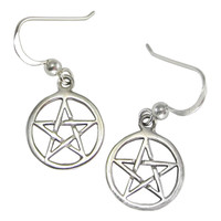 Sterling Silver Open Pentacle Pentagram Star Dangle Earrings Wiccan Pagan Jewelry