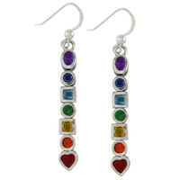Sterling Silver Seven Chakra Stone Dangle Earrings Jewelry