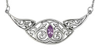 Elegant Victorian Sterling Silver Folding Collar Necklace with Amethyst Gemstone