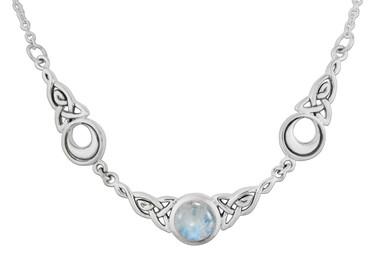 Crescent Moon Celtic Knot Triquetra Rainbow Moonstone Necklace