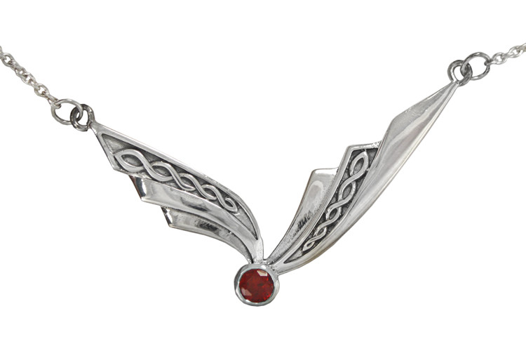Garnet Pendant Celtic Trinity Sterling Silver 925 Hallmark All Chain Lengths