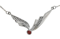 Winged Sterling Silver Garnet Celtic Knot Collar Necklace 18 inches Jewelry