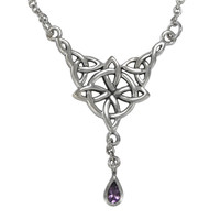 Sterling Silver Witches Quaternary Celtic Knot Amethyst Wicca Pagan Necklace Jewelry