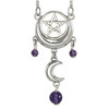 Sterling Silver Crescent Moon Pentacle Pentagram Necklace with Amethyst Gemstone Jewelry