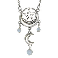 Sterling Silver Crescent Moon Pentacle Necklace with Rainbow Moonstone