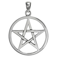 Large Sterling Silver Pentagram Pentacle Pendant