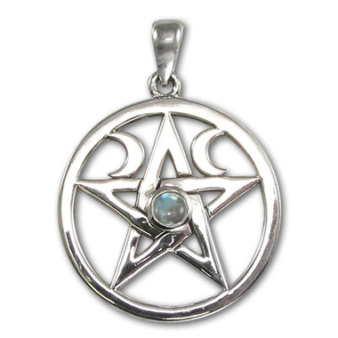 Rainbow Moonstone Pentacle Pentagram Pendant - Sterling Silver Wiccan Pagan Jewelry