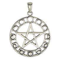 Sterling Silver Moon Phase Pentacle Pendant Lunar Goddess Jewelry