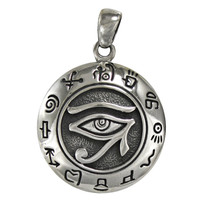 Silver Egyptian Eye Of Horus Pendant Ra Udjat Kemetic Jewelry
