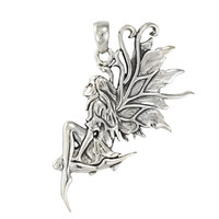Sterling Silver Earth Fairy Pendant Art - Faerie Jewelry By Amy Brown