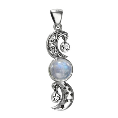 Sterling Silver Celtic Crescent Moon and Stars Rainbow Moonstone Pentacle Pendant Jewelry