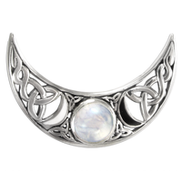 Sterling Silver Celtic Crescent Moon Phase Pendant with Rainbow Moonstone