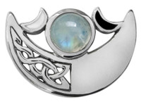 Silver Celtic Knot Crescent Moon Rainbow Moonstone Pendant