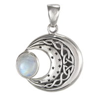 Sterling Silver Celtic Knot Moon and Stars Rainbow Moonstone Pendant