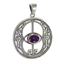 Sterling Silver Chalice Well Pendant with Amethyst