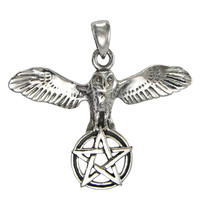 Sterling Silver Owl Pentacle of Wisdom Pendant Wiccan Pagan Jewelry