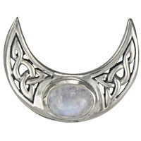 Sterling Silver Celtic Moon Rainbow Moonstone Pendant - Wiccan Pagan Jewelry