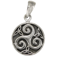 Small Sterling Silver Celtic Knot Triskele Pendant