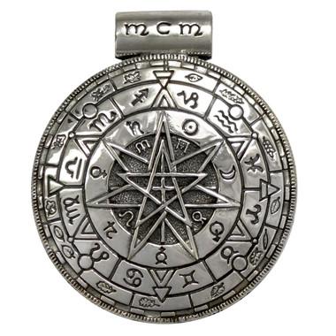 Large Sterling Silver Pentacle Pentagram Magic Circle Pagan Pendant for men or women Jewelry
