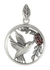 Beautiful Sterling Silver Hummingbird Rose Flower Pendant Jewelry