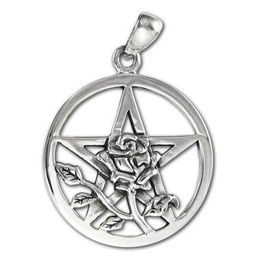 Sterling Silver Rose Flower Pentacle Pentagram Wiccan Pendant Jewelry