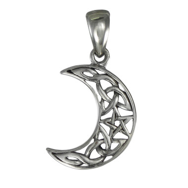 Small Sterling Silver Crescent Moon Pentagram Lunar Goddess Pendant Jewelry