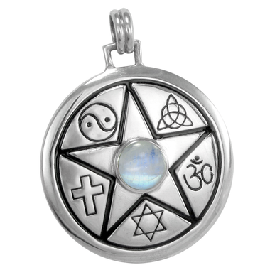 Sterling Silver Unitarian Pentacle Faiths of the World Pendant with Rainbow Moonstone Jewelry