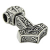 Sterling Silver Thor's Hammer Mjolnir Pendant Norse Jewelry