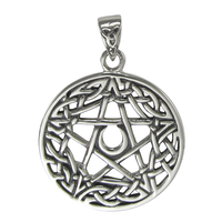 Sterling Silver Celtic Knot Moon Pentacle Pendant