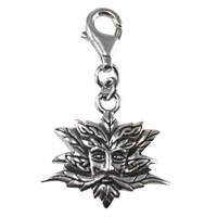 Sterling Silver Green Man Clip Charm  Pendant
