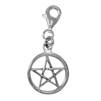 Sterling Silver Pentacle Pentagram Clip Charm Jewelry