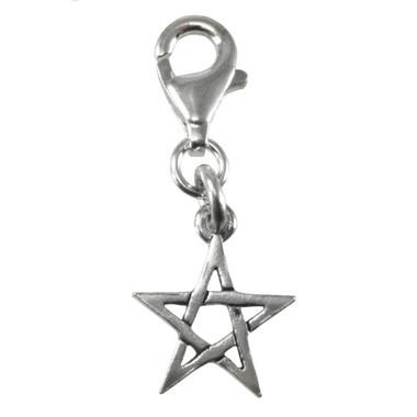 Sterling Silver Pentacle Star Pentagram Clip Charm Jewelry