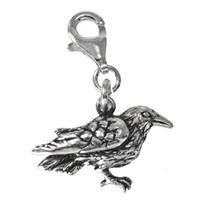 Sterling Silver Raven Crow Corvid Clip Charm Bird Pendant Totem Jewelry