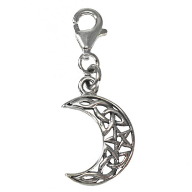 Sterling Silver Pentacle Crescent Moon Celtic Knot Clip Charm