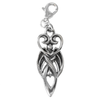 Sterling Silver Winged Moon Goddess Symbol Clip Charm
