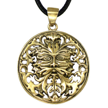 Bronze Green Man Greenman Pendant - Celtic Pagan God Jewelry By Oberon Zell