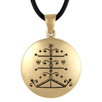 Bronze Ogou Feray Voodoo Veve Pendant Necklace