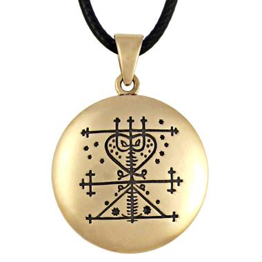 Bronze Maman Brigitte Voodoo Veve Pendant Necklace