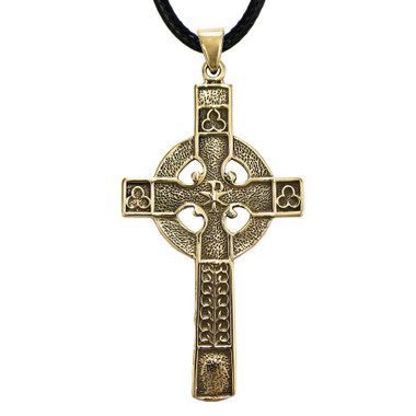 Gold Color Bronze Celtic Cross Pendant - Christian Jewelry for men or women