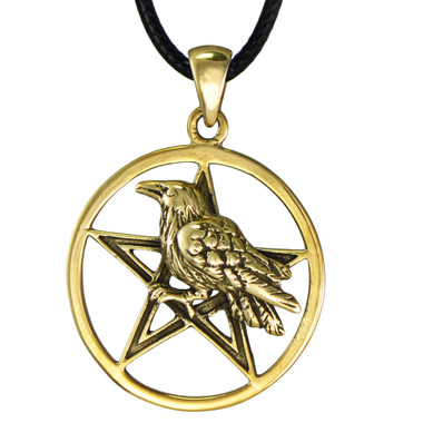 Bronze Raven Crow Pentacle Pendant - Wiccan Pagan Jewelry